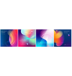 Set square liquid color abstract geometric vector
