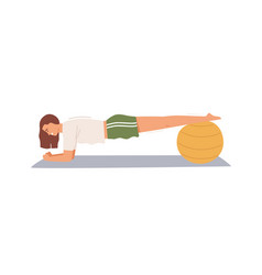 Sportswoman practicing plank exercise putting vector