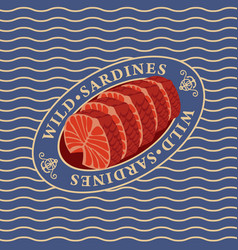 Steaks of wild sardines on the waves background vector
