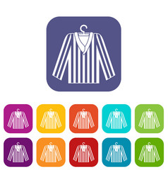 Striped pajama shirt icons set flat vector