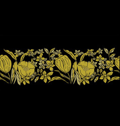 stylized gold tulips vector image