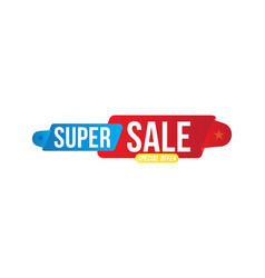 super sale discount blue and red tag flat vector image