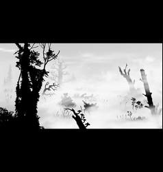 Swamp in fog art black and white silhouette vector