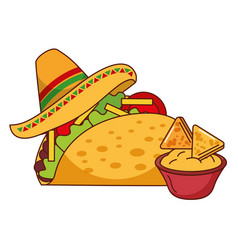 taco nachos and hat mexican food traditional vector image