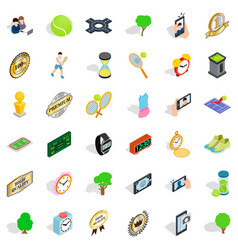 tennis icons set isometric style vector image