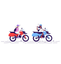 Two women on motorcycles flat doodle tourists vector
