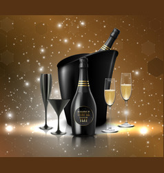 wineglass with a bottle of champagne in a bucket o vector image