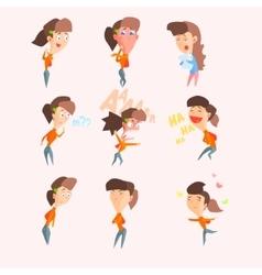 Women Emotions Set in Flat vector image