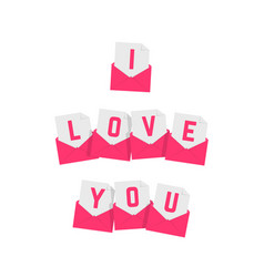 i love you text of pink letters vector image vector image