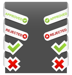 left and right side signs - approved rejected vector image vector image