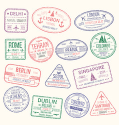 passport stamp travel visa sign icon set vector image vector image