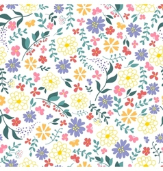 seamless pattern from spring flowers vector image vector image