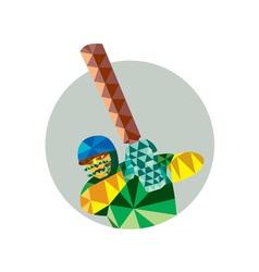 Cricket Player Batsman Batting Low Polygon vector image vector image