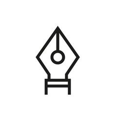 fountain pen nib icon on white background vector image vector image