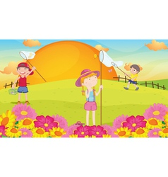 kids and landcape vector image vector image