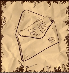 Letter and photos in envelope vector image