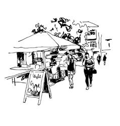original black and white digital sketch of street vector image vector image