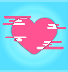 pink heart and cloud on blue background vector image