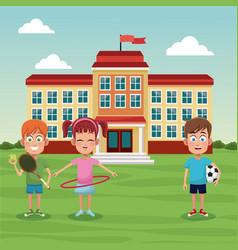 School children sport image vector