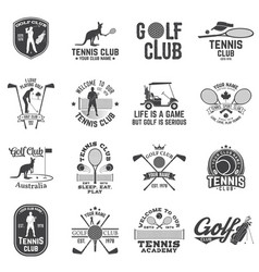 set of golf club tennis club concept vector image