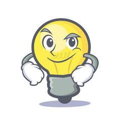 Smirking light bulb character cartoon vector