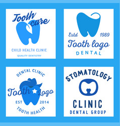 dental logo protection template vector image vector image