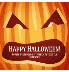 Happy halloween greeting card with carved pumpkin vector image vector image