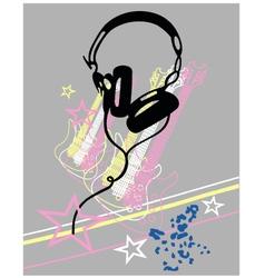 headphone guitar music poster vector image
