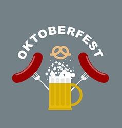 Oktoberfest logo Beer mug with foam Fried sausages vector image vector image