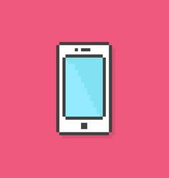 pixel art phone simple icon vector image vector image