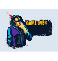 Young gangster with gun vector image vector image