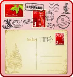 Christmas postage set vector image vector image