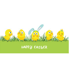 easter border with funny cute chickens vector image