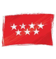 Grunge Community of Madrid flag vector image vector image