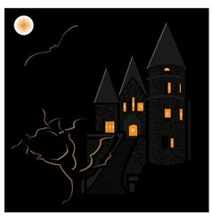 Halloween haunted castle vector image