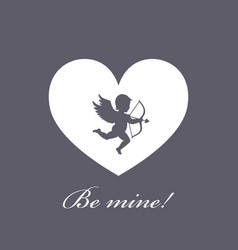 heart with cupid on a grey vector image