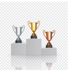 pedestal with the cup winner of the first gold vector image
