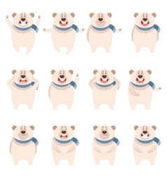 Set of flat polar bear icons vector image
