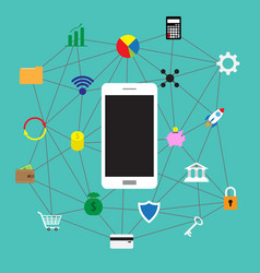 smartphone and fintect icons vector image vector image