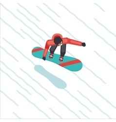 Snowboarder skating from mountain Flat style vector image vector image
