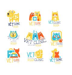 vet clinic original label design colorful hand vector image vector image