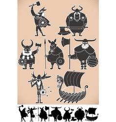 Viking silhouettes vector