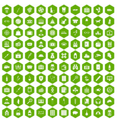 100 case icons hexagon green vector