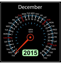 2015 year calendar speedometer car in December vector