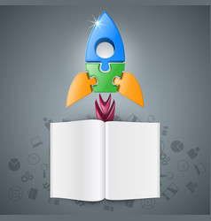 3d realistic rocket and book icon vector image