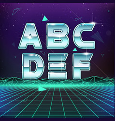 80s Retro Sci-Fi Font from A to F vector image