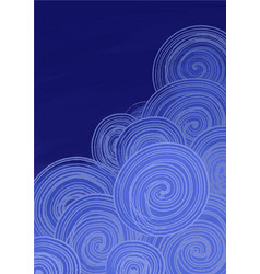Abstract cloud frame in night sky vector