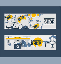 Air drones shop banner quadrocopters and remote vector