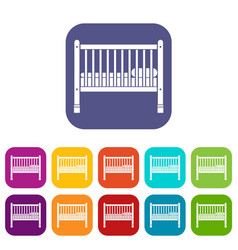 Baby bed icons set vector