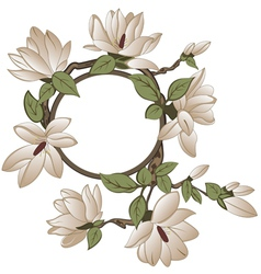 Background with magnolia with frame vector image